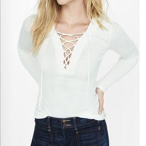 NWOT Express Ribbed Lace-up Top